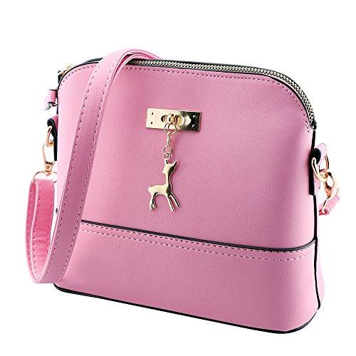 Kleine Umhängetaschen Leder Damen Günstige Handtaschen Schule Elegant Shopper (rosa) (Billige Eine Andere Handtasche)