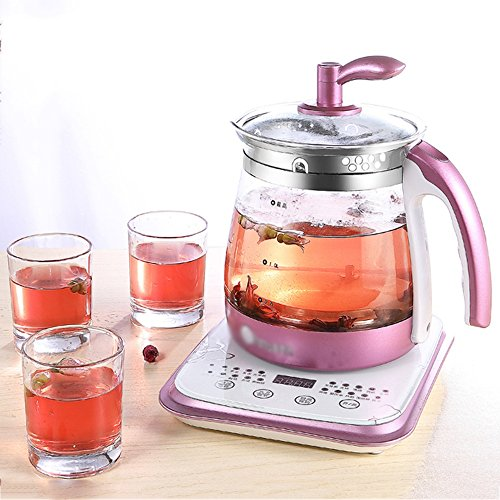 Kettle FEIFEI Electric High Borosilicate Glass Pink Double Anti-hot 800W 1.8L Touch Type High Capacity Separable Base Automatic Power Off Insulation Home   Travel Easy to move