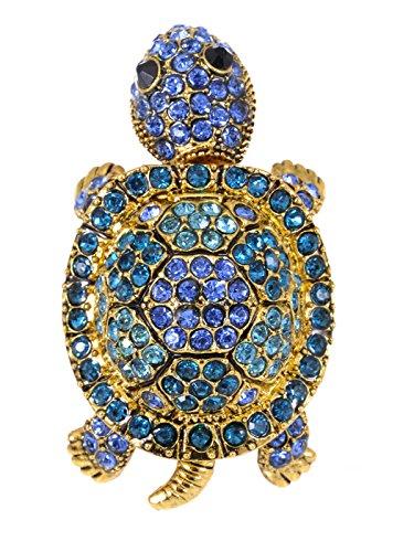 Antik Gold Tone Blau Grün Wiggle Baby Schildkröte Schildkröten Kristall Strass Ring