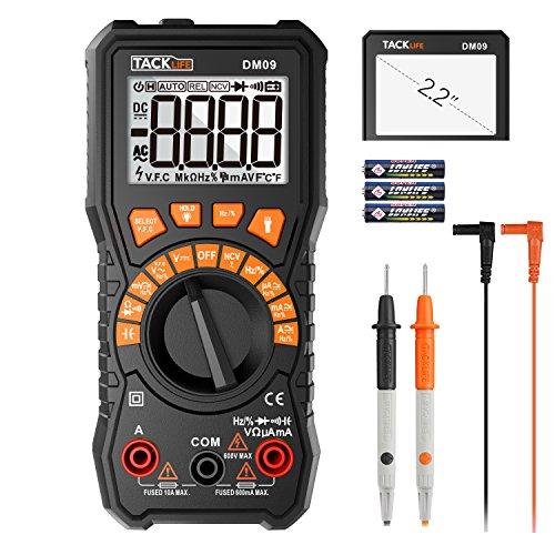 Tacklife DM09 digital Multimeter mit der vollständigsten Funktion für AC-Frequnez, Tastverhältnis, AC-Frequenzumwandlungsspannung, AC/DC Spannung, Strom, Widerstand, Kapazität, mit Großem Display
