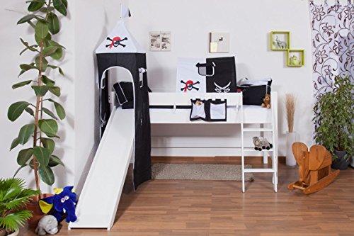 weißes Kinder Hochbett mit Rutsche und Turm - Buche Massivholz 90x200 cm (Kinder Hochbett Rutsche)