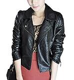 Pomo-Z Women's Leather Biker Short Coat Casual Bomber Jacket (Black, M)