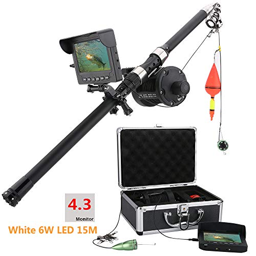 Farb-fishfinder (OUT-L Aluminiumlegierung UnterwasserFischen Video Kamera Kit 6W weiße LED-Leuchten mit 4,3