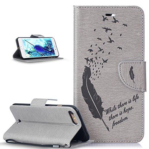 ikasus Coque iPhone 8 Plus/7 Plus Etui Gaufrage Motif Gaufrage Oiseaux de plume Housse Cuir PU Etui Housse Coque Portefeuille supporter Flip Case Etui Housse Coque pour iPhone 8 Plus/7 Plus,Gris