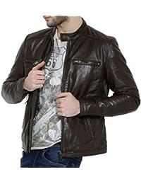Bareskin men's espresso leather slim-fit moto jacket
