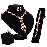 Mode Retro Halskette Armband Ohrringe Ringe Vier Stücke Von Überzug Rose Gold,FourSets