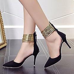 XY&GK Damen Sandalen Frosted Tipp Extra High Heel feine Heel Pumps Sandalen Hochzeit Schuhe Clubs Frauen Schuhe 35 Schwarz