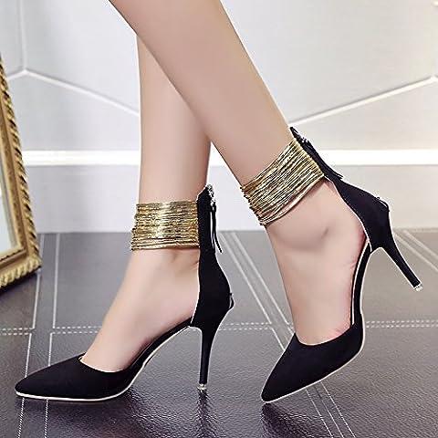 XY&GK Damen Sandalen Frosted Tipp Extra High Heel feine Heel Pumps Sandalen Hochzeit Schuhe Clubs Frauen Schuhe 34