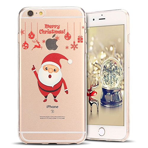 Cover iPhone 6s plus Custodia iPhone 6 plus Silicone Natale Anfire Morbido Flessibile TPU Gel Case Cover per Apple iPhone 6 plus/6s plus (5.5 Pollici) Ultra Sottile Clear Trasparente Copertura Antiurt Babbo Natale