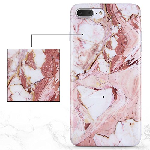 iPhone 8 Plus Marble Case, iPhone 7 Plus Marble Case, Imikoko Matt Soft Silicone Phone Case Stone Marble Painting Slim TPU Bumper Phone Case Flexible Protective Back Back Marble Lines Soft Back Cover  Muster 4