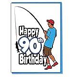 Angeln Angler–Herren–Sohn–Grandson Geburtstagskarte zum 90. Geburtstag–Freund–Mann–Brother–Mate–Boyfriend