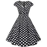 Vestidos Vintage Mujer Años 50,Gusspower Vestidos Retro De Cuello Redondo Hepburn Elegantes con Estampado Flor Vestidos De Fiesta Gusspower