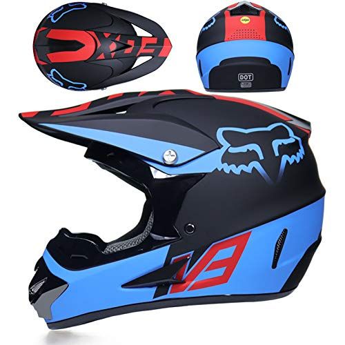 YUEYE Motorrad Motocross Motorradhelme Windschutzmaske Handschuhe SCHUTZBRILLE D.O.T Standard Kinder Quad Bike ATV Go-Kart-Helm Virtue,04,XL - Helm Kinder Blau Atv