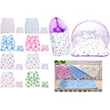 Baby Fly Baby Gift Pack Combo Pack Of 1 Purple Strawberry Print Mosquito Net Bed/Toddler Mattress With Mosquito Bed And Sleeping Bag With 4 Plastic Diaper Changing Sheets And 8 Baby Jhabla/Vest With 8 Single Layer Nappies (0-6 Months)
