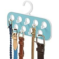 mDesign Percha para cinturones con 9 ganchos y 9 orificios – Organizador de armario – Útil como corbatero o como colgador de pañuelos y bisutería – Blanco / turquesa