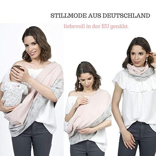 Mania Stillschal Mojo, das Original, Stilltuch Organic, diskretes Stillen unterwegs, Geräusch-Schutz für Baby, mit unsichtbarem Stilleinlagen-Einschub, rosa/grau mit Blüten, Größe: S/M