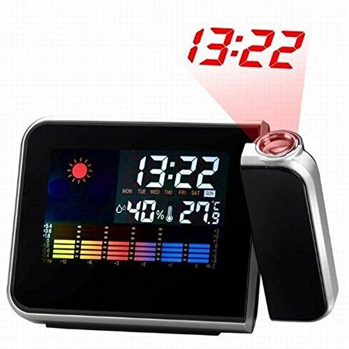 Digital LED Screen Wecker, TechCode ® Projektion Wecker Mit Wettervorhersage, Hygrometer Und Thermometer
