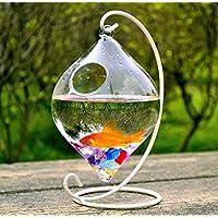 Kleines Glas Vase Creative Fisch Tank Aquarium Fish Bowl Dekoration für Hochzeit oder Bar oder Büro (der Ständer + Schale) (schwarz, klein)