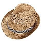 WeiMay Cappelli di Paglia da Sole Cappello di Jazz Primavera Autunno Unisex Bambini Cappello Panama Estivo Sunscreen Jazz Hat Visor, Comodo e Traspirante(Khaki)