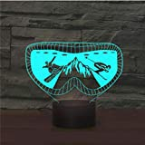 Lampes à motifs Ski 3d lumière tactile télécommande colorée 3d lampe atmosphère...
