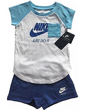 Nike 919-B9A Set, Niñas, Blanco / Azul, L