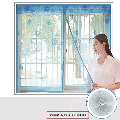 Eqeq silk road velcro finestra schermo magnetico filato morbido tenda zanzariera crittografia mute per la camera da letto cucina reticella-marrone 150x100cm(59x39pollici)