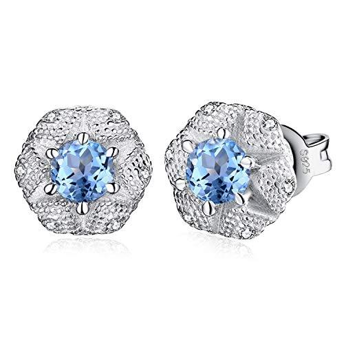 JewelryPalace Fiore 0.6ct Genuino Topazio Azzurro Cubic Zirconia Orecchini in Argento Sterling 925