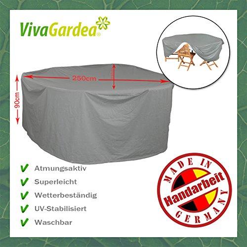 VivaGardea® PREMIUM HAUBE MIT ABHANG FÜR MÖBELGRUPPE OVAL 250 x 210 CM - GRAU