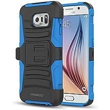 MoKo Galaxy S 6 Funda - Holster Funda con Soporte y Girable Clip [Heavy Duty] Robusto Funda para Samsung Galaxy S6 5.1 Inch Android Smart Phone (2015 Release), AZUL