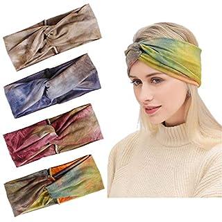 Aissy Damen Stirnbänder,4 Stück Soft Elastische Mischen Farben Gedruckt Verdreht Baumwolle Kopfband Haarband für Damen