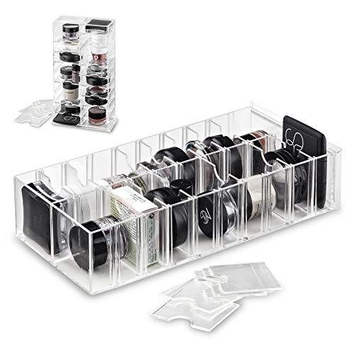 byAlegory Acryl Make-up Stand Organizer mit abnehmbaren Trennwänden | 20 Räume entworfen zu stehen und legen flach
