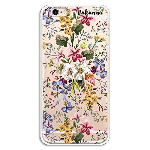 dakanna Kompatibel mit [iPhone 6-6S] Flexible Silikon-Handy-Hülle [Transparenter Hintergrund] Blumen Bouquet Design, TPU Case Cover Schutzhülle für Dein Smartphone (Durch Iphone 6 Sehen Flower Case)