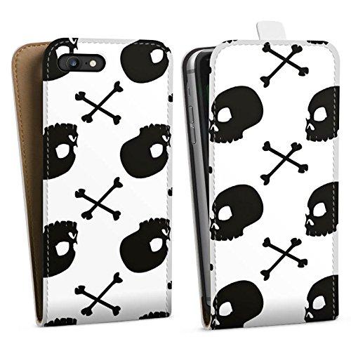 Apple iPhone X Silikon Hülle Case Schutzhülle Totenköpfe Schwarz-Weiß Muster Downflip Tasche weiß