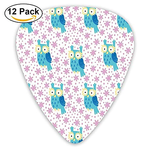 Cute Cartoon Owl Pattern Flowers As Eyes Forest Background Guitar Picks 12/Pack Set
