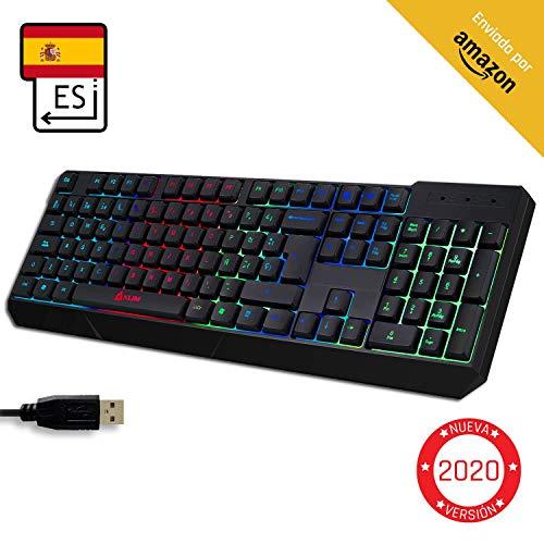 KLIM Chroma Tastatur Gamer Spanisch mit USB Kabel - Hohe Leistung - bunte Beleuchtung ( Schwarz ) RGB PC Windows, Mac PS4 [ Neue Version ] -