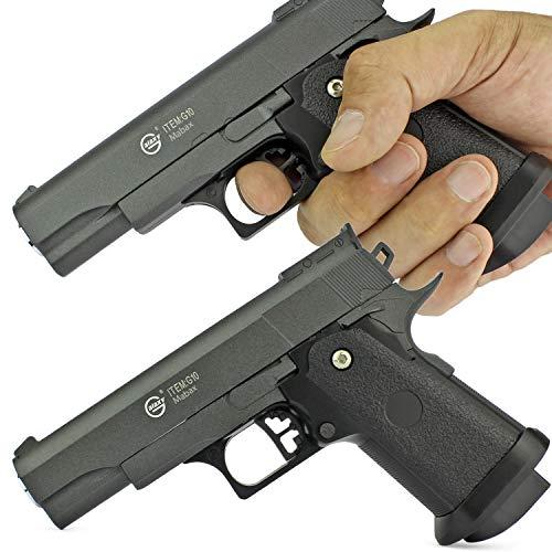 Duell Set - 2X Softair Gun Airsoft Pistole + Munition | G10. Vollmetall | 16cm. Inkl. Magazin & 0,5 Joule -