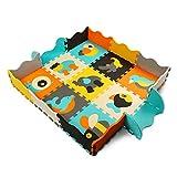 qqpp Tapis de Puzzles – Tapis de Sol épais pour l'éveil de bébé - Puzzle géant aux Motifs Animaux– dès 10 Mois – Lot de 9 Dalles en Mousse Multicolores et 16 Tapis de Jeu de clôture