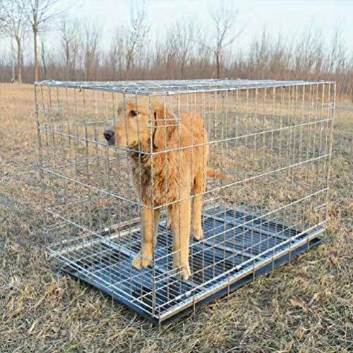 HIOIJFJ Transportkäfig für Hunde und Kleintiere, stabile Box aus kräftigem Draht, faltbar/klappbar, 2 Türen, mit Bodenschale,001,100 * 60 * 70 1,3 M-box