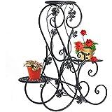 Étagère de Pots de Fleurs Plantes avec 3 Corbeilles Jardinières en Métal Fer Forge-Dazone®Noir S
