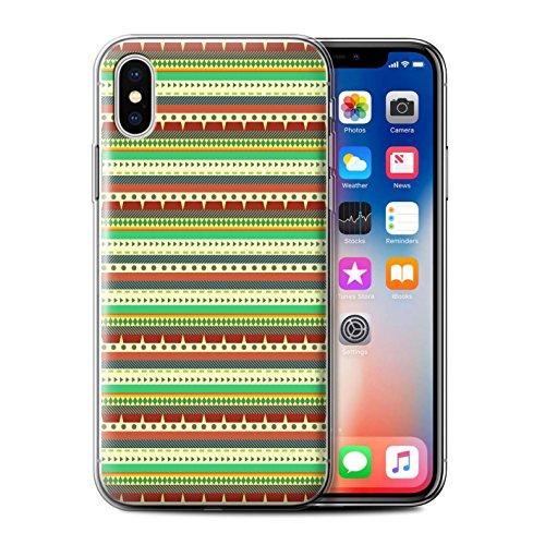 Stuff4 Gel TPU Hülle / Case für Apple iPhone X/10 / Grün Muster / Aztekische Stammes Muster Kollektion Grün/Rot
