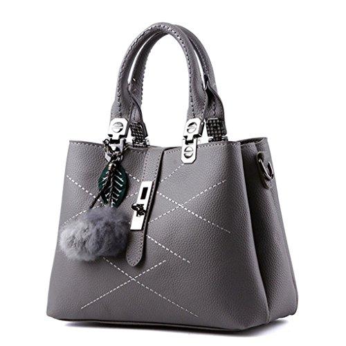 LaoZan Damen Elegant Schultertasche PU-Leder Handtasche Mit Plüsch Dekoration Grau Grau