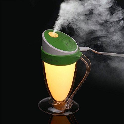 wuayi Home Office Duft Luftbefeuchter Moonlight Cup Bunte Nachtlicht USB Mini Luftbefeuchter Feuchtigkeitsspendend (Grün) Luft-filter Allergen