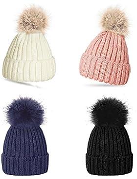 Donna invernale con pon pon cappello bello caldo berretto invernale berretto con pompon berretto con pompon Blue