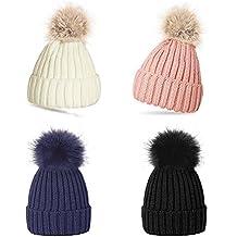 Gorro de lana para mujeres con pompones cómodo y caliente para el invierno rosa Rosa