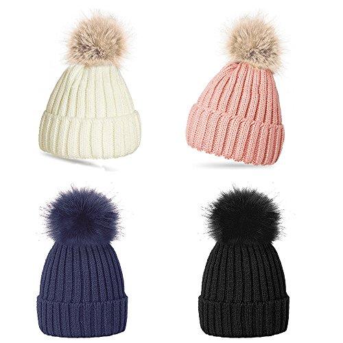 Gorro de lana con pompón, cálido, para invierno, para mujeres azul azul