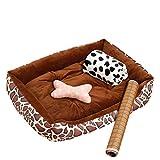 Hundekissen Kleiner/großer / mittlerer Deluxe-Soft-Hundekorb , Abwaschbares, warmes Bettkissen, braun, Größe optional (größe : M 70×55×15cm)