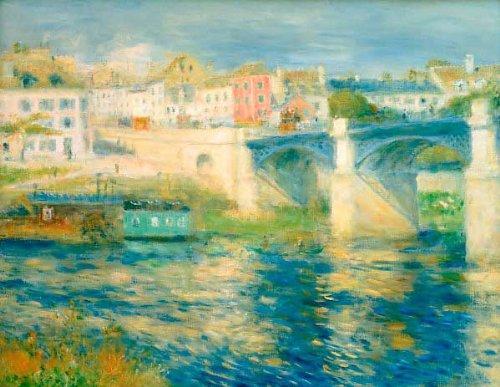 Pierre Auguste Renoir Brücke (Kunstdruck/Poster: Pierre Auguste Renoir Die Brücke von Chatou - hochwertiger Druck, Bild, Kunstposter, 85x65 cm)