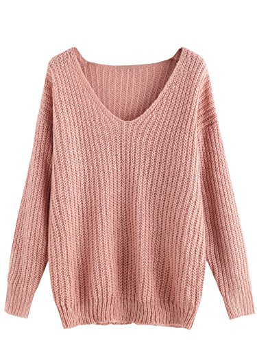 ROMWE Damen Pullover V-Ausschnitt Herbst Winter Kuschelig Strick Strickpullover Rosa