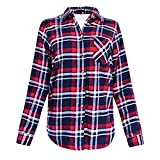 Sufeng Women's Winter Plaid Button Down Top Warm Fluffy Pullover Top Sweatshirt Outwear