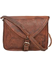 "Handcraft's ""Justin"" Genuine Leather Elephant With Palm Tree Emboss Unisex Vintage Brown Sling Bag Shoulder Bag"